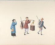 Chinese Woman, Man with Legs Chained and Another Carrying Parasol and Bundle