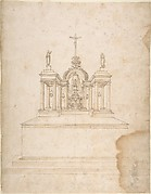 Design for a Tabernacle Surmounted by Christ on the Cross and Praying Figures (the Virgin and Saint John?).