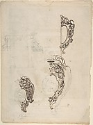 Designs for Cartouches, Containing Arms of Cardinal Aldobrandini (Later Pope Clement VIII), with Arch in Upper Left (recto); engraving by Enea Vico, urn with lion heads and garlands (verso)