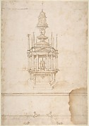 Design for an Polygonal Tabernacle, with Obelisks and a Pediment Surmounted by Three Figures Supporting a Tempietto-like Structure