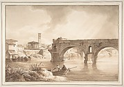 A View of the Tiber from the North Bank, with the Temple of Vesta, the Campanile of S. Maria in Cosmedin and the Ponte Rotto