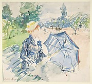 A Woman Seated at a Bench on the Avenue du Bois