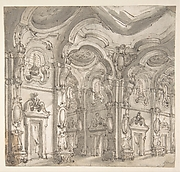Design for a Stage Set: The Gallery of a Magnificent Palace Decorated with Mirrors.