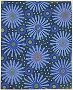 Fabric Design with Flowers, Circles, and Dots