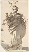 Design for a Statue of Justice with Sketches at Left and Above.