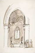 Chapel in a Gothic Church (recto); Outline sketch of an oval form (verso)