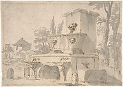 Venetian Capriccio: Landscape with a Farm Building, Sarcophagus, and Fountain (recto);  Monument (verso)