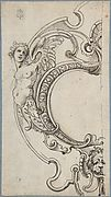 Half of a Cartouche with a Female Figure on the Left and a Lion's Head on the Bottom