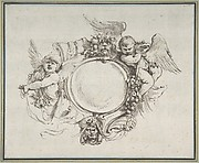 Design for a Cartouche surrounded by Putti handing Garlands, supported by a Human Head