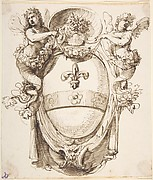 Design for a Cartouche flanked by winged Sirens with a Coat of Arms containing a Fleur-de-Lis