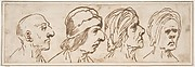 Four Caricatured Heads