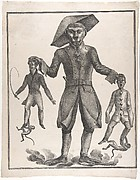 A Giant Monkey in Uniform Holding up Pierrot and a Man with a Whip