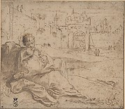 The Virgin and Child Resting Outside a City Gate