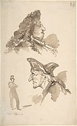 Sheet of Studies:  Two Male Heads in Profile and Standing Man