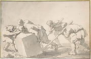 Five Men Pushing a Block of Stone