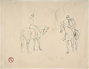 Two Riders on Horseback (A Woman and a Man)