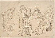 Four Artists seated at a table (Brunet, Potier, Tiercetin [?], Vernet)