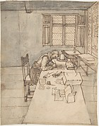 Interior with a Man Writing on a Long Table