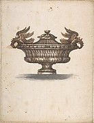 Design for a Covered Urn with Two Eagles