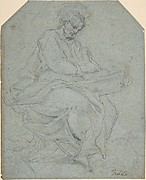 A Seated Apostle (recto); Drapery Study (verso)