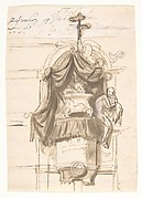 Design for a sepulchral monument in the form of a pulpit; verso: Fragment of a text