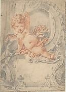Cupid posed in an Ornamental Cartouche