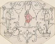 Arabesque Cartouche with Dancing Figure