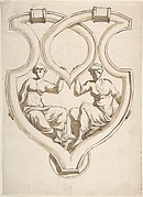 Two Female Figures in Interlaced Cartouche Design for Door Knocker