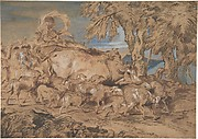 Pastoral Scene:  Nomads with Sheep and Cattle