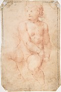 Study of a Seated Putto Looking at His Right (recto); A Woman's Head, Study after the Antique (verso)