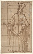 Standing Male Figure Holding a Sword (King Otto of Hungary; recto); Sketch of Standing Male Figure (verso).