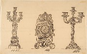 Designs for a Clock and Two Candelabras