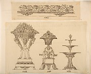 Designs for a Decorative Frieze, Two Planters and a Server