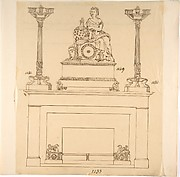 Designs for Fireplace Iron, Mantle Candlesticks and a Clock