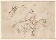A Peasant on Horseback seen in Profile Facing Right; Two Studies of the Same Man's Head.