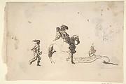 Two Figures on Horseback, a Soldier Walking Behind