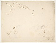 Figures in Battle and Head of a Horse (recto); Studies of a Man's Head and Arms (verso)