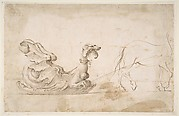 Design for A Sleigh in the Form of a Griffin, Drawn by a Horse.