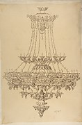 Design for a Chandelier with Acanthus Leaf, Grape, and Palmette Motifs
