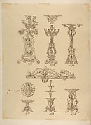 Designs for Three Candelabras, Two Fruit Dishes and a Server