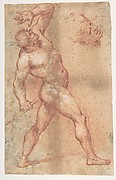 Male Nude with Left Arm Upraised, and a Further Study of His Head