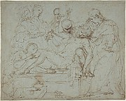 Lamentation over the Dead Christ at the Foot of the Cross (recto); Studies for the Burial of Christ (verso)