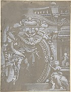 Ornamental Design for a Wall Monument Surmounted by a Balustrade with Human Figures, Angels Holding Garlands and Draperies (recto and verso).