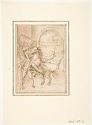 An Allegory:  Male Nude in a Stable with Four Wild Horses