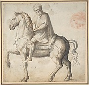 Man on Horseback, Study of a Man's Head (recto); Head of a Young Woman (verso)