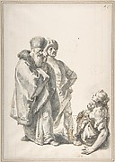 Two Standing Male Figures and Seated Woman with a Child