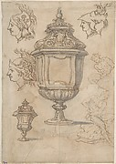 Design for an Urn Surrounded by Three Heads; Two Nude Male Figures and an Urn (Recto). Decorative Urn and a Nude Male Figure (Verso).