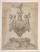 Design for a Vessel with Two Tritons Blowing Horns and a Winged Putto on Top