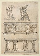 Studies for a Kneeling Figure of Christ and Altar Fronts.