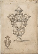 Designs for Two Urns Decorated with Garlands and Volutes (Recto). Candle Holder (?)(Verso)